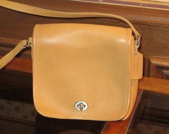 Coach Companion Flap Camel Leather Crossbody Bag With Nickel Hardware & Dust Bag - A True Companion- Style No 9076- EUC