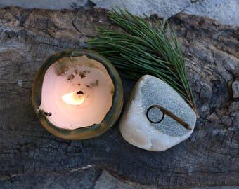 Stone Incense Holder - Rustic Home Decor - Beach Stone Incense Burner - Meditation Altar - Sacred Space