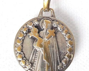 vintage St Therere silver and gold medal, christian jewelry, religious pendant by Fernand PY