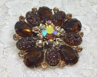 Vintage Dark Amber & AB Rhinestone Art Glass Floral Brooch Pin