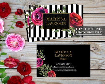Watercolor Flowers Striped Business Card Template Business Card Floral Striped Design Double - Sided Standard Card |PHOTOSHOP FILE|BC17