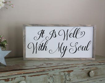 It is Well With My Soul Distressed Wood Sign, Inspirational Sign, Motivational Hymn Sign, Scripture Wood Sign, Living Room Sign, Bible Verse