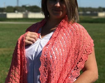 Coral lace shawl