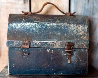 Antique Vintage Military Lunch Box - Metal & Leather Industrial Storage Box - Rustic Keepsake Box - Gift for Him - Industrial Decor