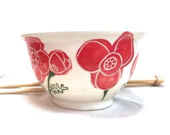 Sale Red Poppy Yarn Bowl, ceramic knitting bowl crochet flower bowl yarn storage gift for knitter crocheter studio second pottery yarn pot