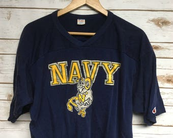 Vintage 60's 70's Navy Champion jersey tshirt football US Naval academy 50/50 blend football jersey navy blue Bill the Goat - Large/XL