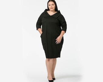 Peggy Sue Retro Collar Cotton Jersey Tapered Dress