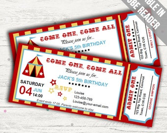 Carnival Birthday Party Invitations (Circus Invitation). Editable PDF. Printable. Instant Download.
