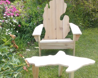 Michigan adirondack chair, Michigan chair, Michigan shape chair, Michigan patio chair, Michigan deck chair