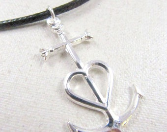 Necklace with choice of string camargue37x22mm large cross.