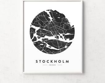 Stockholm print, Stockholm map poster, Stockholm city map, map of Stockholm, Stockholm wall art, Stockholm decor, map poster, city map print