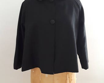Vintage 1950's Black Cropped Waist Length Swing Jacket Sz Small Audrey Hepburn