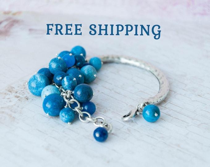 Womens blue bracelet, Blue beaded bracelet, Silver blue bracelet, Blue bridal bracelet, Blue bangle bracelet, Celestial bracelet