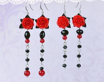 Rose Long earrings Red Girlfriend gift Red Rose earrings Romantic Red earrings Red Bridesmaid earrings Red black earrings Red flower earring