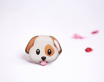 Dog Emoji Pin Dog brooch Animal pin Animal jewelry Emoji pin Dog jewelry Animal brooch Dog accessories Cute pin Emoji jewelry