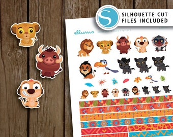 King of the Jungle Deco | PRINTABLE pdf jpg + Silhouette Cut Files | Inspired by Disney™ Planner Stickers | Lion King Inspired | Simba Pumba