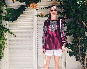 Vyshyvanka Hippie chic Embroidered blouse Marsala Peasant blouse Boho clothing Gypsy top Bohemian Boho chic