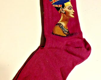Art Socks, The Pearl, Nefertiti, Gift for Women,Crew Socks,Artist,Art Lovers, Art Teacher Gift