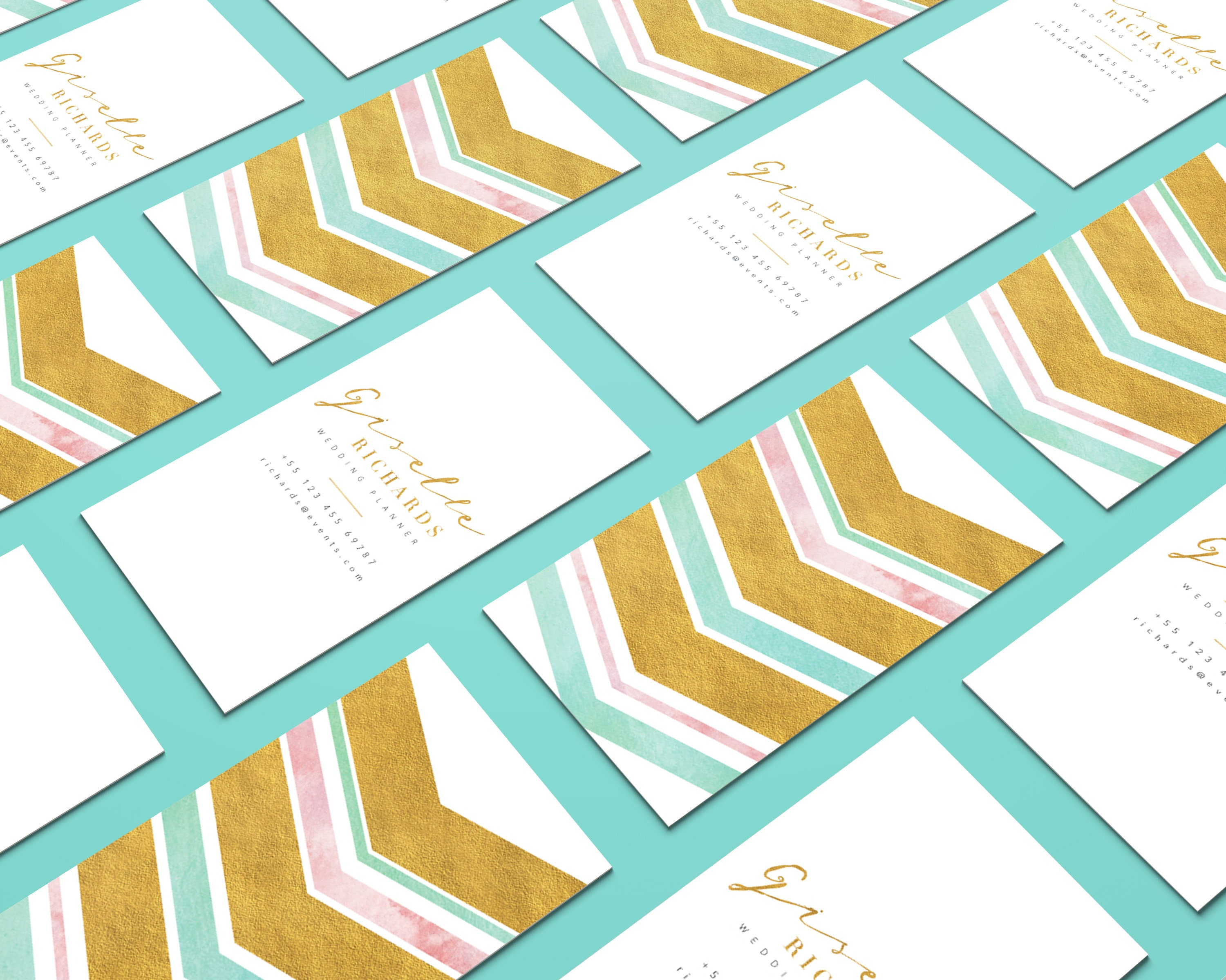 Geometric Arrow Glam Business Card, Glitter Gold Watercolor Business ...