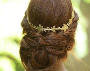 Gold Bridal Headpiece, Gold Bridal Wreath, Gold Bridal Headband, Gold Bridal Tiara, Greek Headband, Goddess Headpiece, Woodland Headband