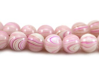 Glass Smooth Round Vintage Style Off White Pink Purple Swirls Beads 8mm