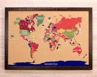 World map pin board etsy cork world map travel corkboard m pin board gift for traveler for him for gumiabroncs Image collections