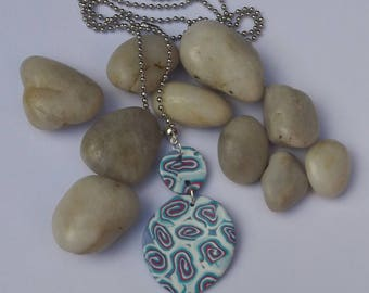 Polymer Aqua Blue & Pink/White Swirl Pendant Necklace.