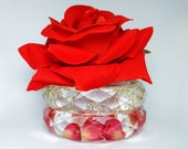 "Single Red Rose and Sparkling Champagne Baby's Breath Bangle Bouquet Stack with Scented Rose Pin Clip 2.45"" Inner Diameter"