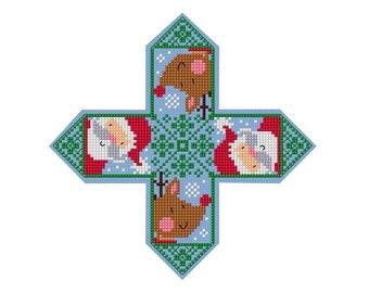 Santa Christmas Ornament - Durene J Cross Stitch Pattern _ DJXS2245
