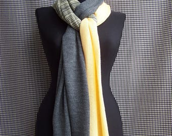 big long thin soft champaign yellow and gray striped gradient knit fine wool blend scarf for men or women
