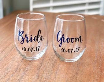 Wedding Toast Wine Glasses - Personalized Bride and Groom Wine Glasses - Wedding gift for couple - Bridal Shower gift - Engagement Gift