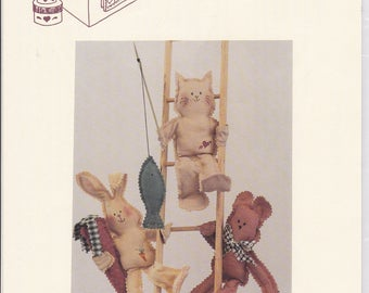 "FREE US SHIP Craft Sewing Pattern Twice as Nice Designs Sunshine Friends 7"" Dolls Cat Bear Bunny Rabbit New Uncut 149 1991"