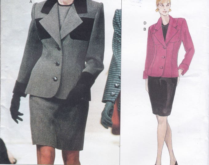 Free Us Ship Sewing Pattern Vogue 1837 Retro 1990s 90's Designer Givenchy Blouse Suit Jacket Skirt 8 10 12 Bust 31.5 32.5 34 Uncut