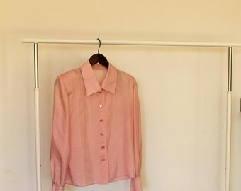 Vintage Blush Pink Blouse   Silk Blouse w Golden Buttons   Long Sleeve Blouse w Shoulder Pads