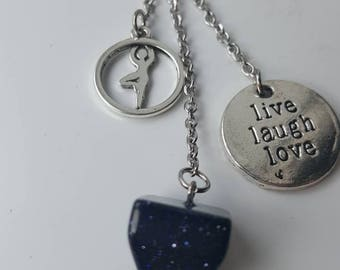 "Stone Keychain thin blue aventurine yoga charm and ""live laugh love""."