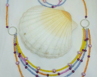 MULTISTRAND necklace seed bead and pearl beads