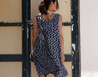 Vintage grunge blue white floral midi dress.over size