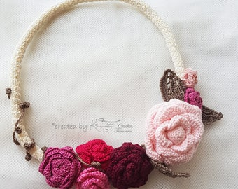 Crochet necklace, Textile jewelry, Crochet roses, Pink necklace, Wearable art, Crochet rose necklace, Bohemian style, Floral jewelry