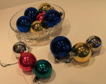 Set of 12 Vintage Mercury Glass Christmas Balls - Vintage Christmas Tree Ornaments