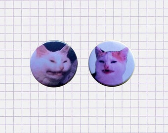 Cat no banana - pinback button or magnet 1.5 Inch