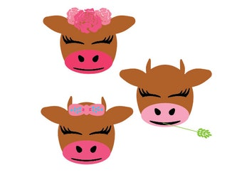 cow SVG, cow face SVG, farm svg, farm animal svg, cute cow svg, pretty cow svg, cow floral svg, happy cow svg, sweet cow svg, farm party svg