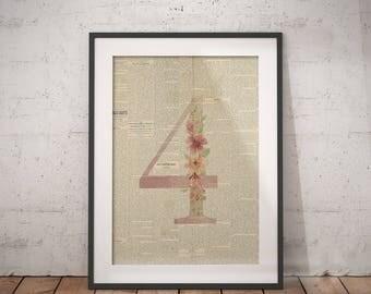 Nursery Number Four | Four Poster, Four Number Art, Number Wall Art, Nursery Age, Four Year Old, Four Years Old, Floral Number, Number Print
