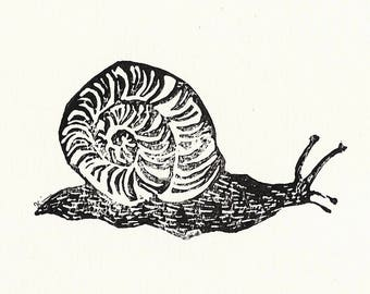"Snail handprinted linocut print // Postcard sized - A6, 4.1"" x 5.8"""