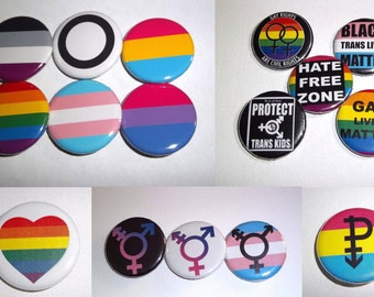 "LGBTQ Pin Back Button Size 1.25"", Gay Rights, Gay Pride, Trans Pride, Hate Free Zone, Pansexual, and more, Please Choose"