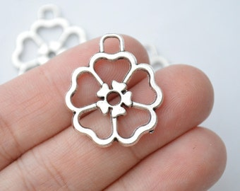6 Pcs Open Flower Charms Antique Silver Tone 2 Sided 26x12mm - YD1965