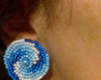 Galaxy Eternity Universe spiral blue white beach clip on earrings Summer space disk beaded tribal jewelry Gift for woman girlfriend mom