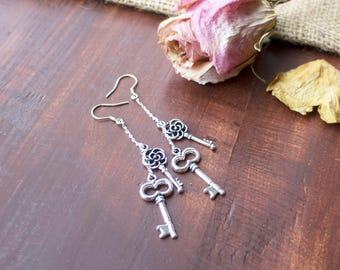 Silver Vintage Key Dangle Drop Earrings | Rustic | Romantic | Key | Sterling Silver | Gifts for Her | Bridal Gifts | Birthday Gift | Dainty