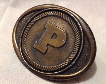 Texas Kolcaco Belt Brass Buckle, Inital P, Pacific, Texas Collection Belt Buckle 5274-9