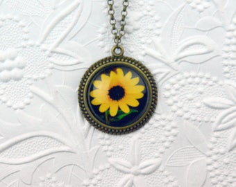 Large Sunflower Photo Pendant in Vintage Bronze Setting