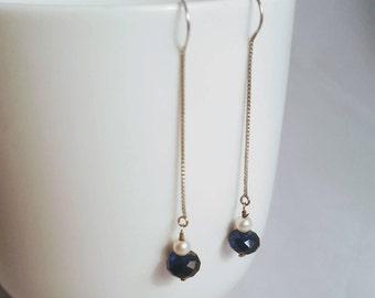 Blue Swarovski & Sterling Silver Thread Earrings